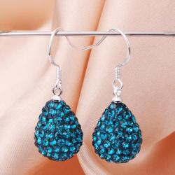 Vienna Jewelry Pear Shaped Solid Swarovksi Element Drop Earrings- Dark Saphire - Thumbnail 0