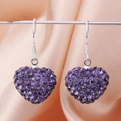 Vienna Jewelry Heart Shaped Solid Swarovksi Element Drop Earrings- Dark Lavender - Thumbnail 0