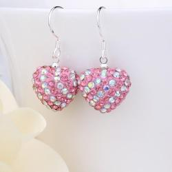 Vienna Jewelry Two Toned Swarovksi Element Hearts Drop Earrings-Light Coral