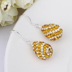Vienna Jewelry Two Toned Swarovksi Element Pear Shaped Drop Earrings-Orange Citrine - Thumbnail 0