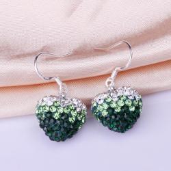 Vienna Jewelry Heart Shaped Swarovksi Element Drop Earrings-Dark Emerald