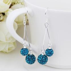 Vienna Jewelry Swarovksi Element Drop Earrings-Aqua Blue