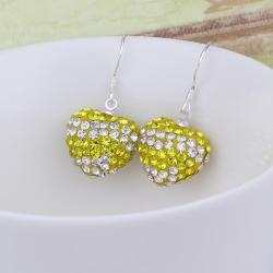 Vienna Jewelry Swarovksi Element Pave Heart Drop Earrings- Yellow Citrine