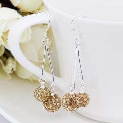 Vienna Jewelry Swarovksi Element Drop Earrings-Champagne