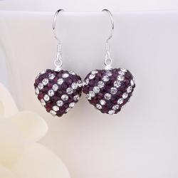 Vienna Jewelry Two Toned Swarovksi Element Hearts Drop Earrings-Dark Lavender
