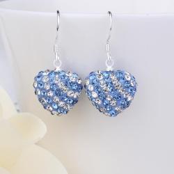 Vienna Jewelry Two Toned Swarovksi Element Hearts Drop Earrings-Light Saphire
