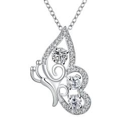 Vienna Jewelry Crystal Stone Spiral Butterfly Design Drop Necklace - Thumbnail 0