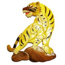 Handmade Art Intarsia Wooden Wall Plaque -Tiger(101)