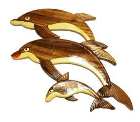 Handmade Art Intarsia Wooden Wall Plaque - Dolphin(103)