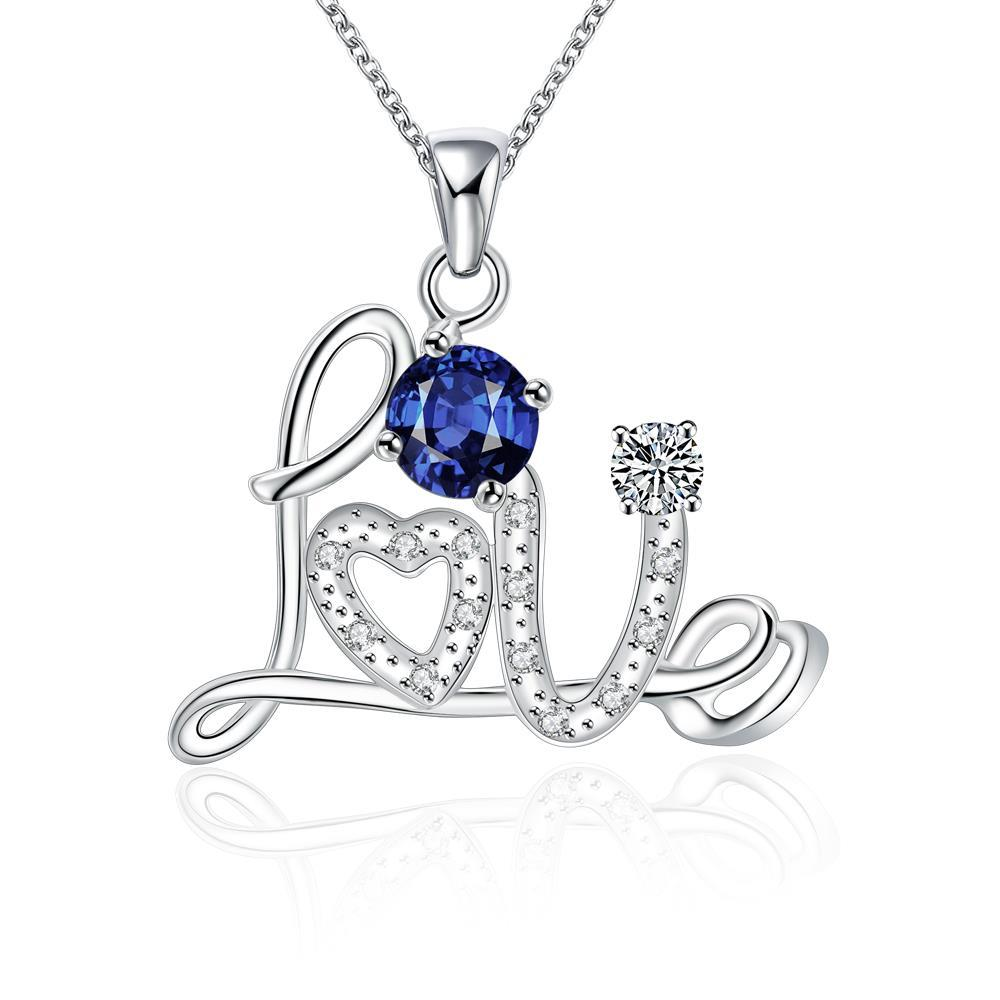 Vienna Jewelry Petite Sapphire Love Emblem Sign Necklace