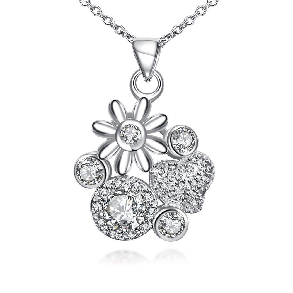 Vienna Jewelry Petite Crystal Jewels Gem Multi Floral Charms Pendant Necklace