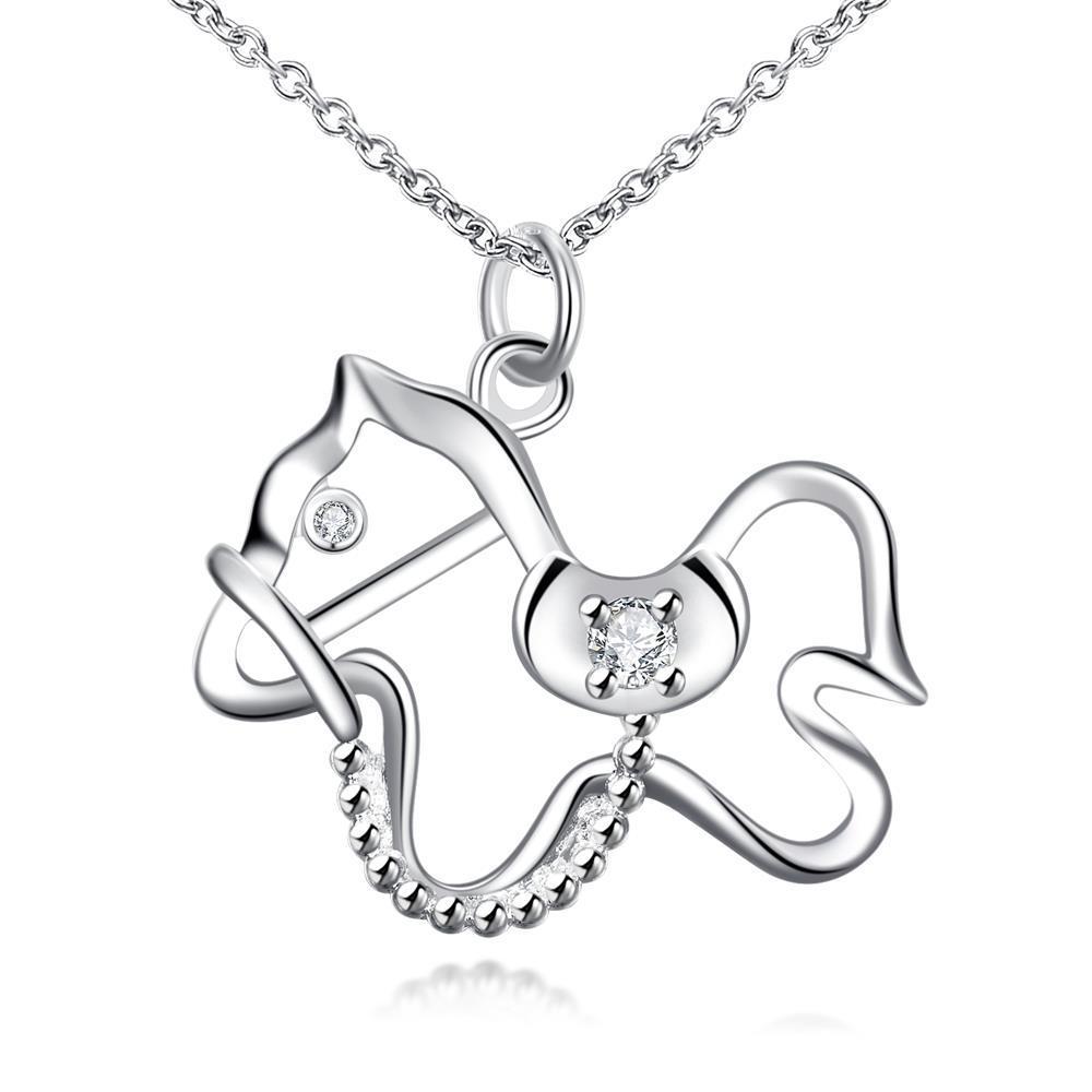 Vienna Jewelry Hollow Cute Pony Drop Necklace