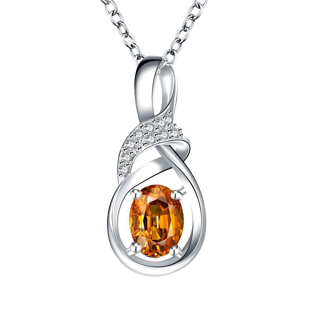 Vienna Jewelry Orange Citrine Curved Emblem Drop Necklace