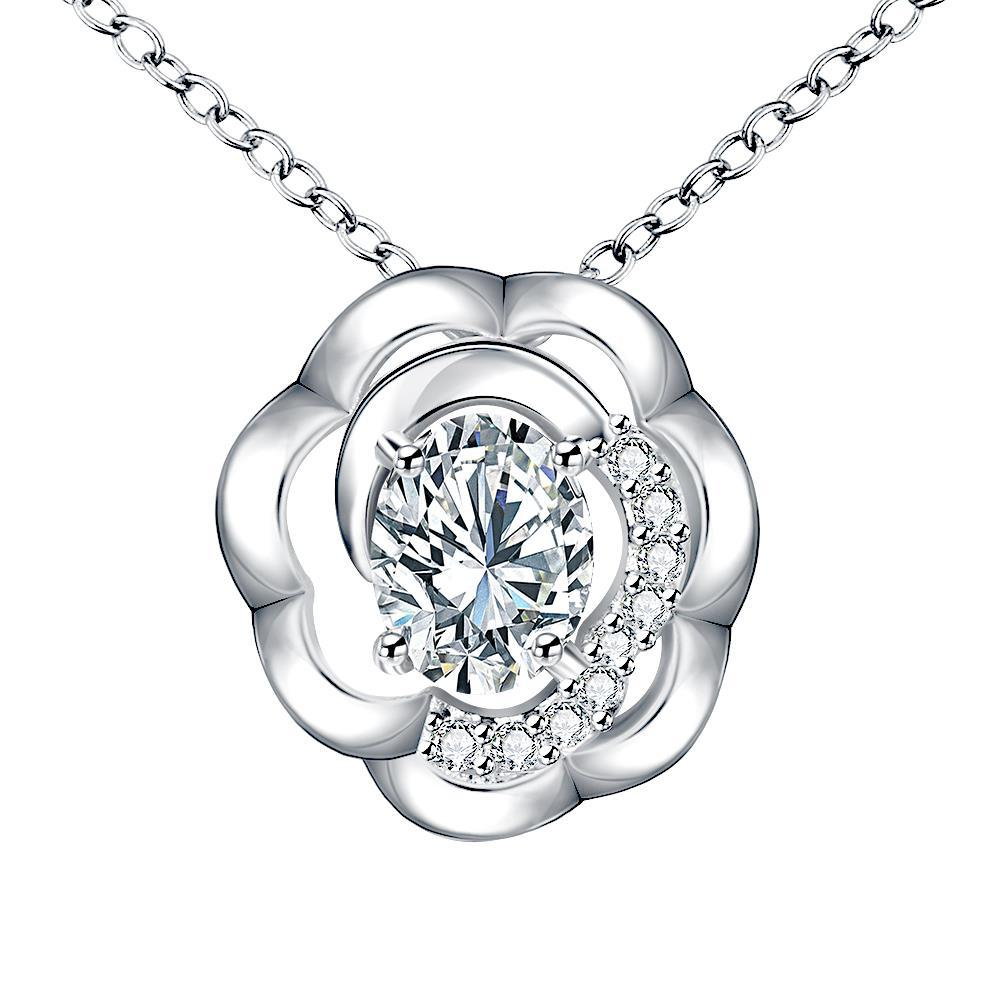 Vienna Jewelry Petite Crystal Stone Blossoming Clover Drop Necklace