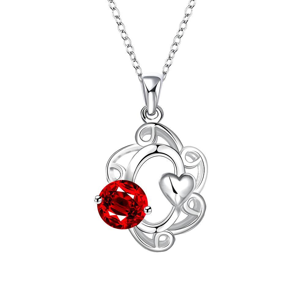 Vienna Jewelry Mock Ruby Red Gem Spiral Pendant Drop Necklace