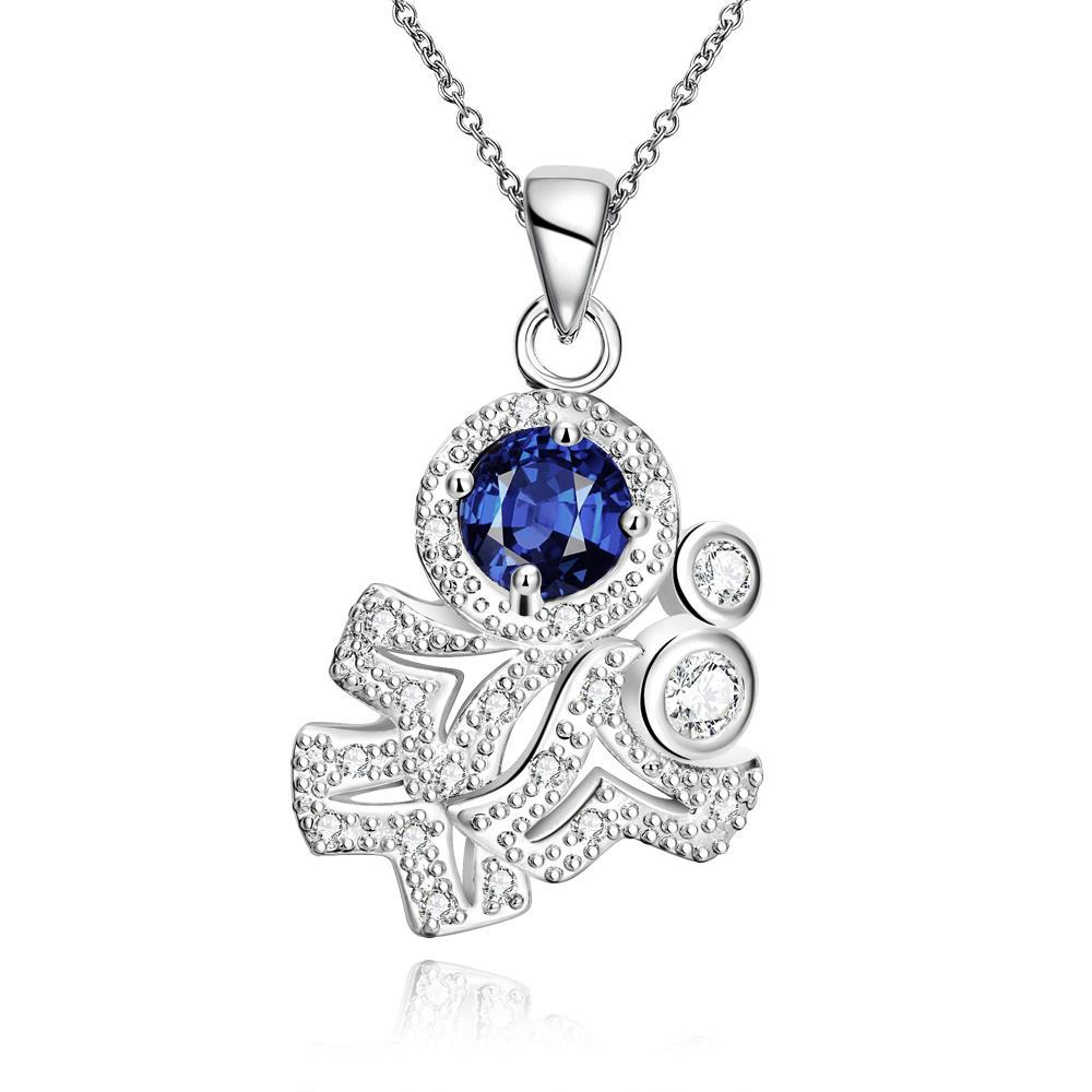 Vienna Jewelry Mock Sapphire Spiral Classical Emblem Drop Necklace