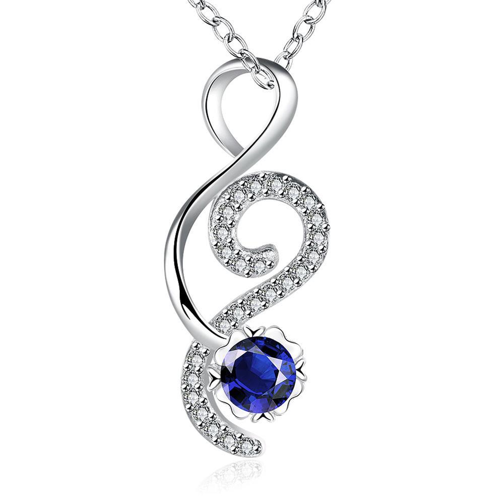 Vienna Jewelry Open Ended Heart Mock Sapphire Drop Necklace