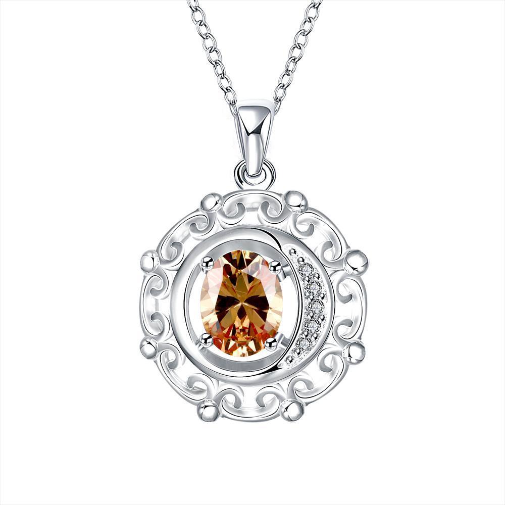 Vienna Jewelry Orange Citrine Spiral Pendant Drop Necklace