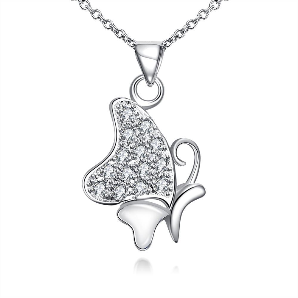 Vienna Jewelry Ivory Plated Jewels Covering Butterfly Necklace
