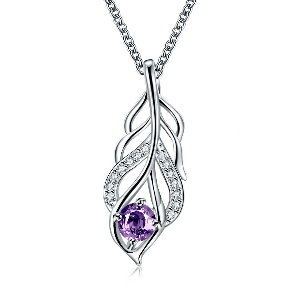 Vienna Jewelry Purple Citrine Dangling Leaf Branch Necklace