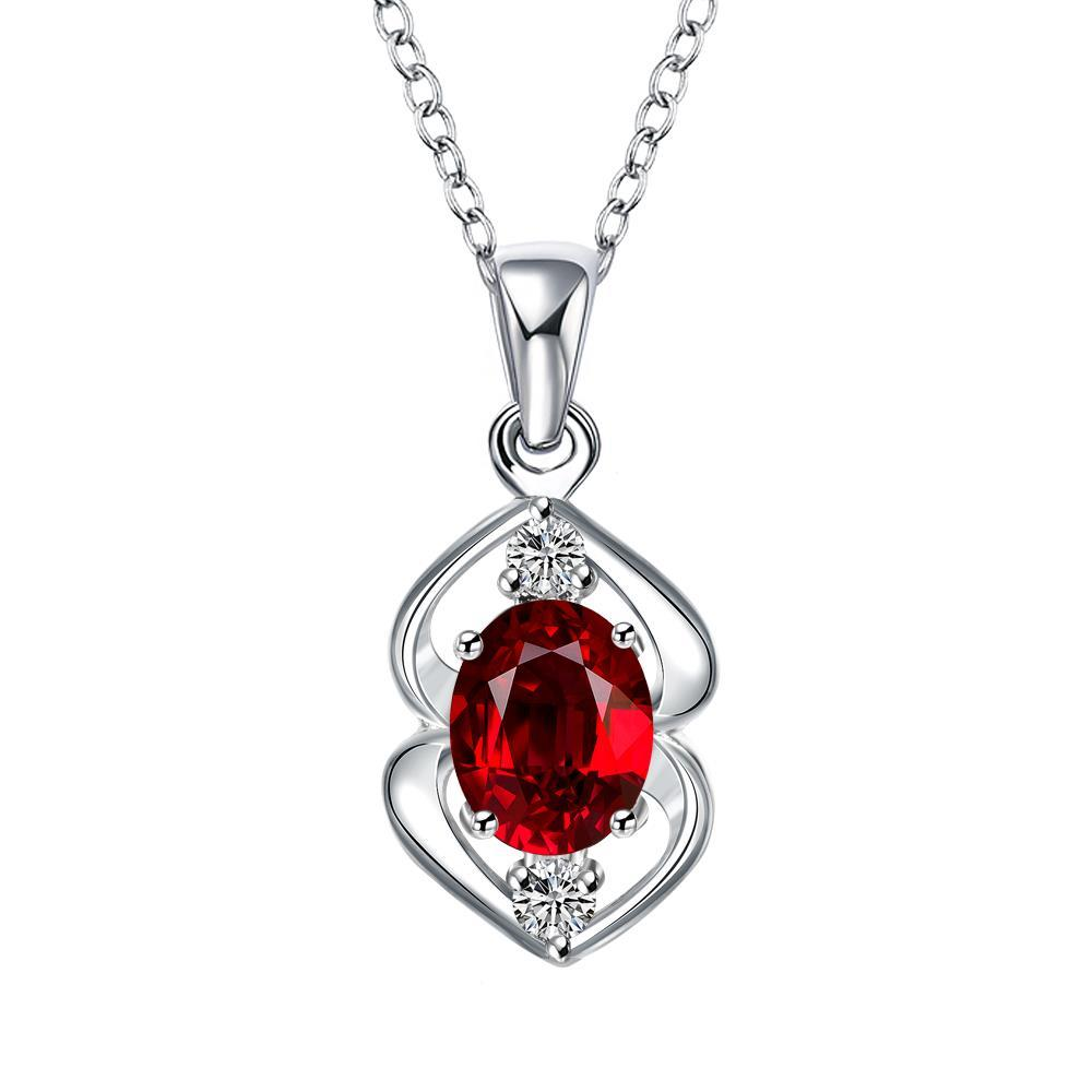 Vienna Jewelry Mock Ruby Red Oval Curved Emblem Drop Necklace