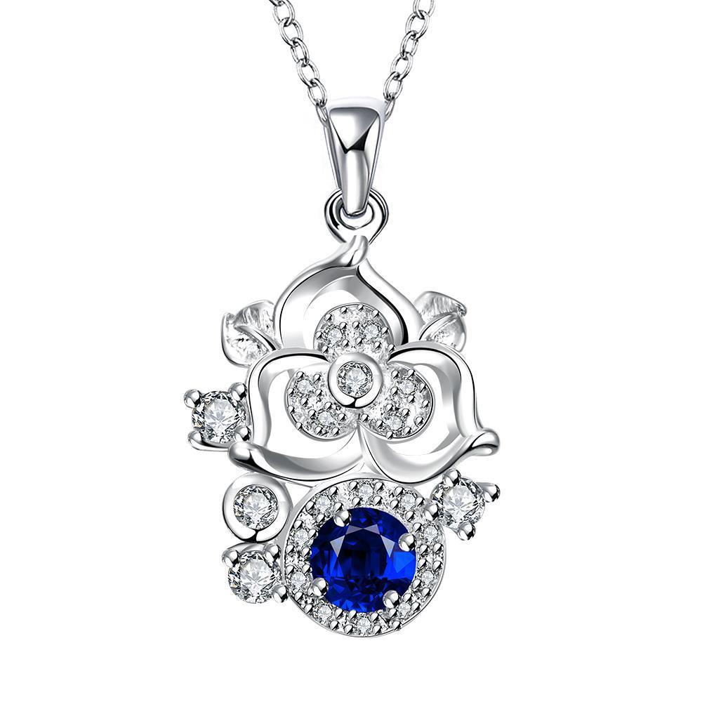 Vienna Jewelry Blossoming Spiral Floral Sapphire Gem Necklace