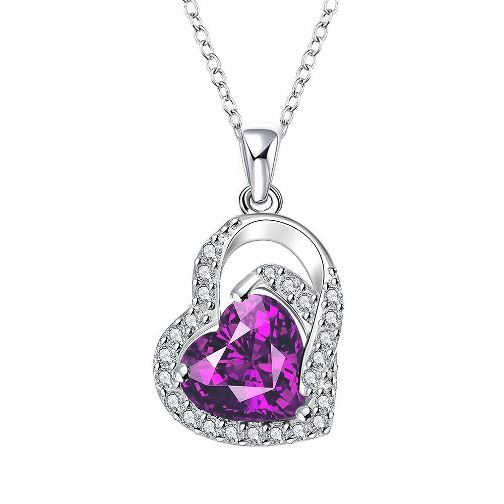 Vienna Jewelry Purple Citrine Heart Shaped Jewels Covering Drop Necklace