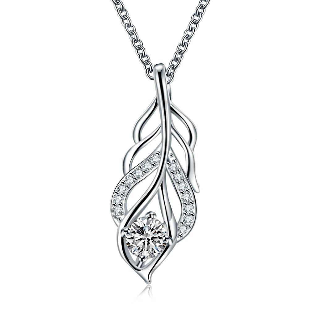 Vienna Jewelry Crystal Stone Dangling Leaf Branch Necklace