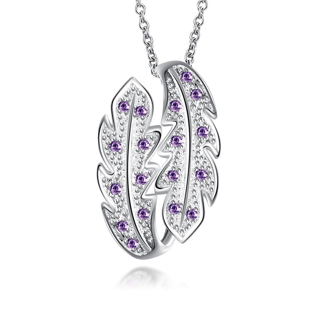 Vienna Jewelry Mock Purple Citrine Duo-Leaf Drop Necklace