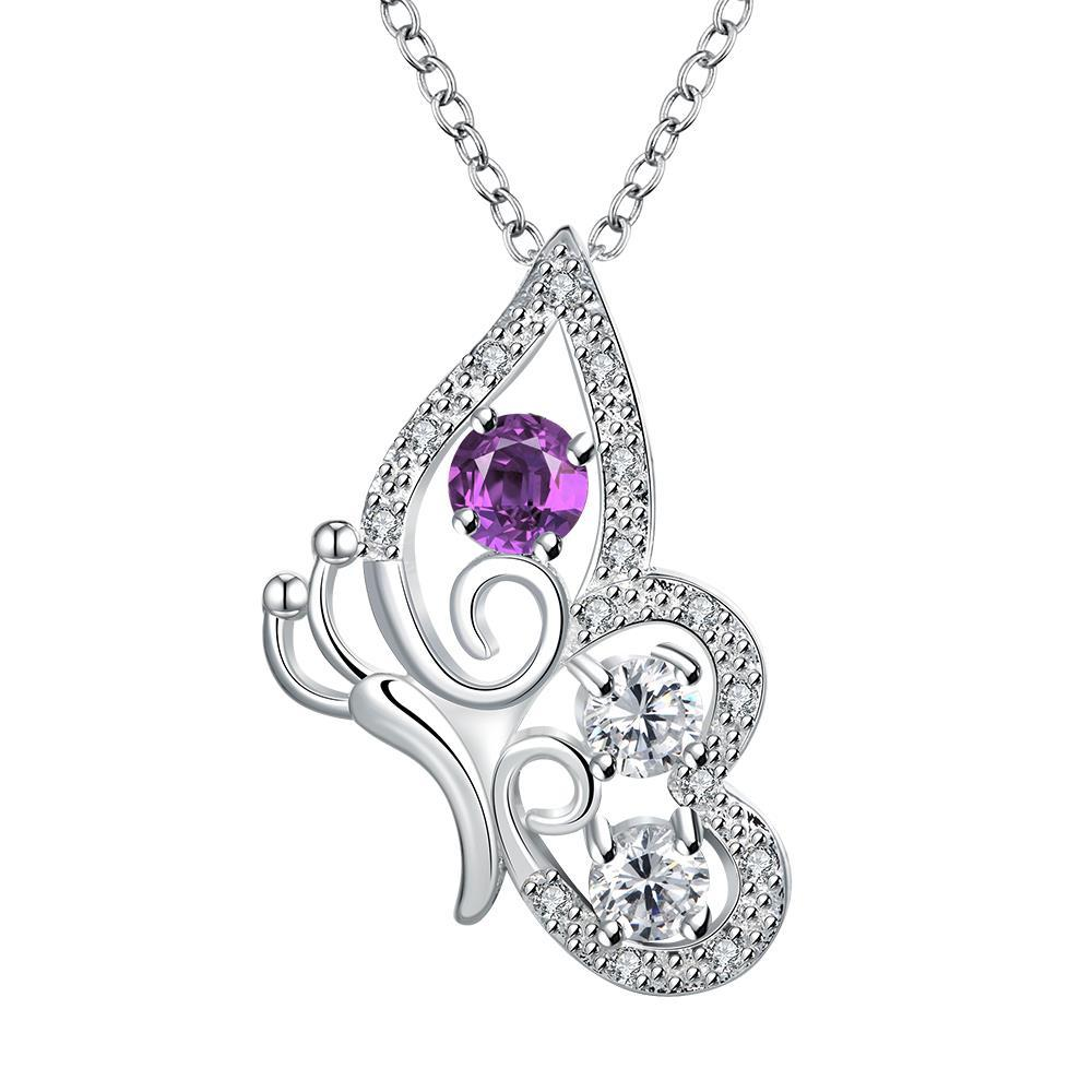Vienna Jewelry Purple Citrine Spiral Butterfly Design Drop Necklace - Thumbnail 0