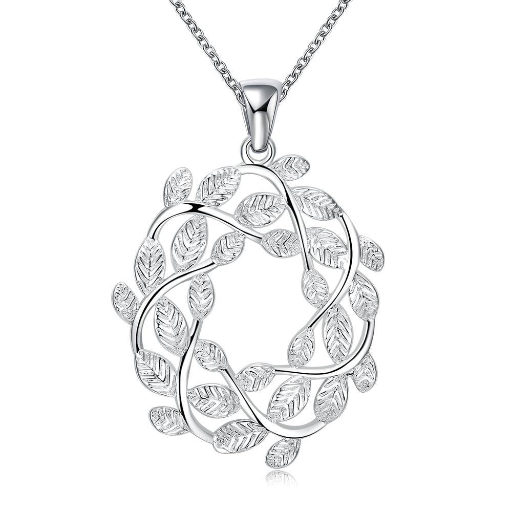 Vienna Jewelry Spiral Leaf Branch Pendant Drop Necklace - Thumbnail 0