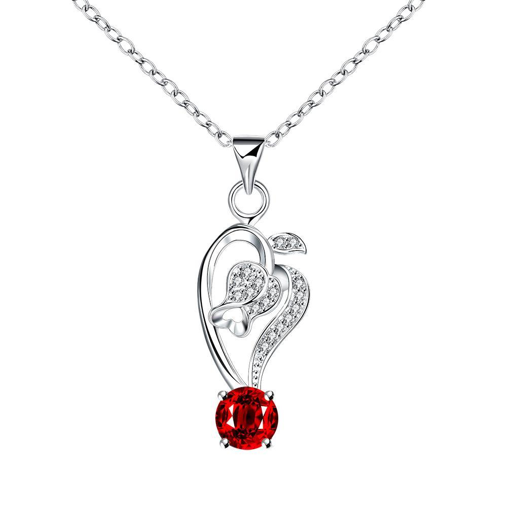Vienna Jewelry Curved Abstract Heart Dangling Ruby Drop Necklace