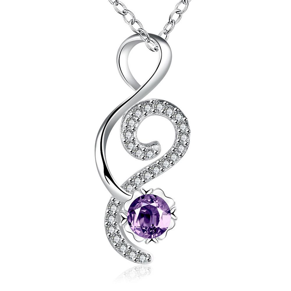 Vienna Jewelry Open Ended Heart Purple Citrine Drop Necklace