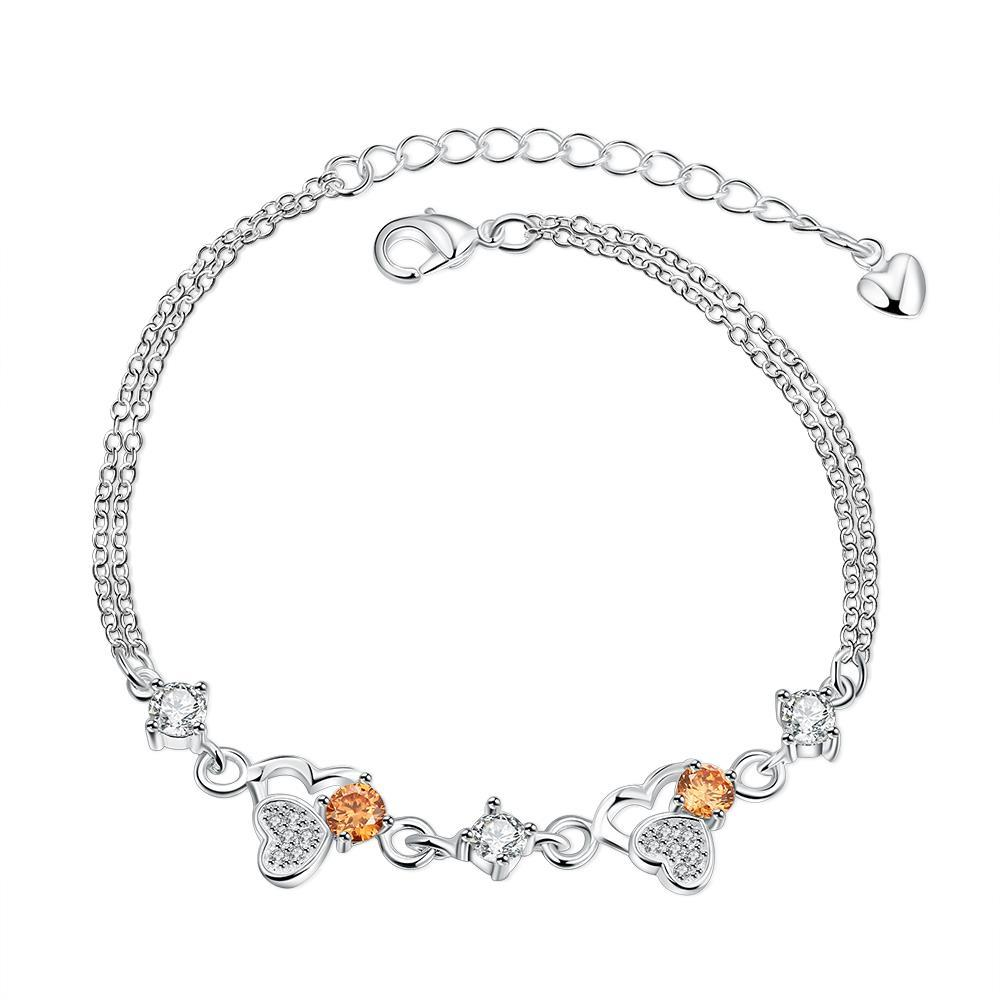 Vienna Jewelry Orange Citrine Triangular Emblem Petite Anklet