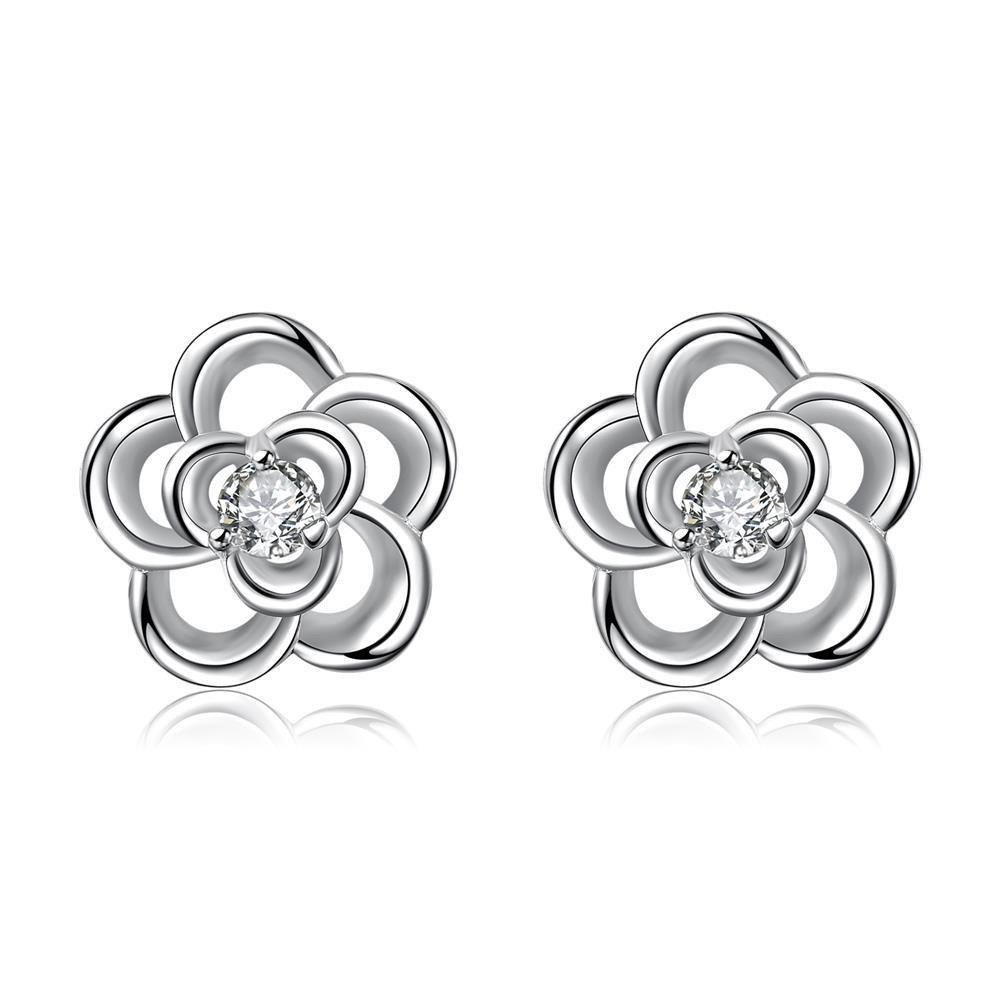 Vienna Jewelry Silver Tone Spiral Clover Stud Earrings