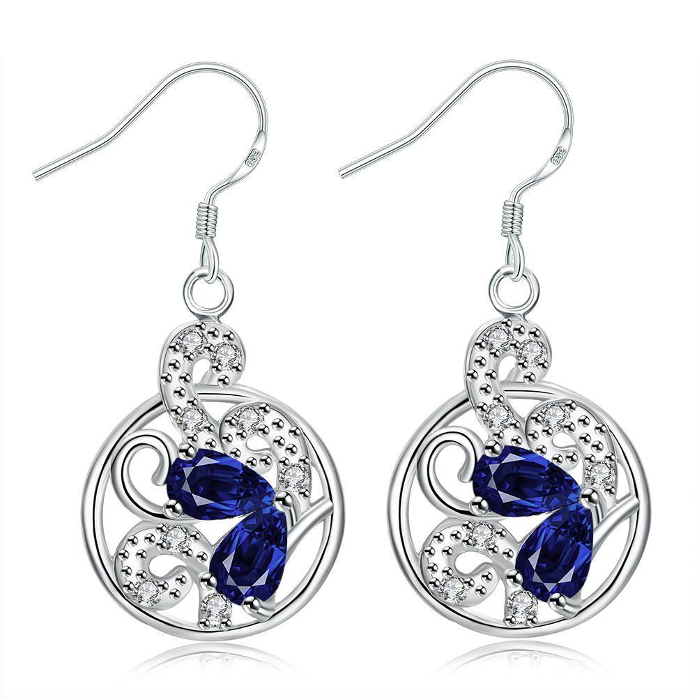 Vienna Jewelry Modern Spiral Sapphire Gem Drop Earrings
