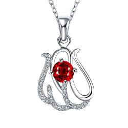 Vienna Jewelry Spiral Laser Cut Petite Ruby Emblem Drop Necklace - Thumbnail 0
