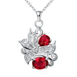 Vienna Jewelry Duo-Ruby Red Gem Floral Pendant Necklace - Thumbnail 0