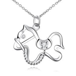 Vienna Jewelry Hollow Cute Pony Drop Necklace - Thumbnail 0
