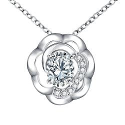 Vienna Jewelry Petite Crystal Stone Blossoming Clover Drop Necklace - Thumbnail 0