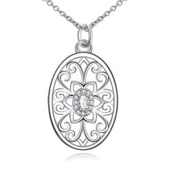 Vienna Jewelry Floral Laser Cut Design Pendant Drop Necklace - Thumbnail 0