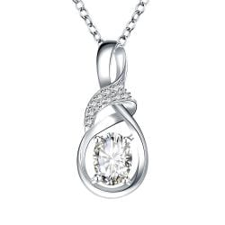 Vienna Jewelry Crystal Stone Curved Emblem Drop Necklace - Thumbnail 0