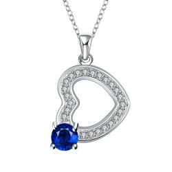 Vienna Jewelry Petite Hollow Heart Mock Sapphire Drop Necklace - Thumbnail 0