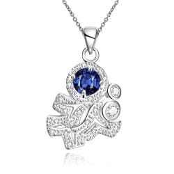 Vienna Jewelry Mock Sapphire Spiral Classical Emblem Drop Necklace - Thumbnail 0