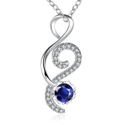 Vienna Jewelry Open Ended Heart Mock Sapphire Drop Necklace - Thumbnail 0