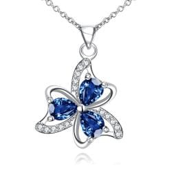 Vienna Jewelry Trio-Clover Petal Mock Sapphire Drop Necklace - Thumbnail 0