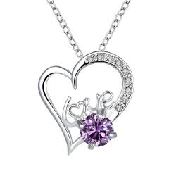 Vienna Jewelry Heart & Love Purple Citrine Drop Necklace - Thumbnail 0