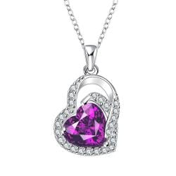 Vienna Jewelry Purple Citrine Heart Shaped Jewels Covering Drop Necklace - Thumbnail 0