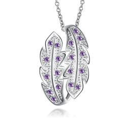Vienna Jewelry Mock Purple Citrine Duo-Leaf Drop Necklace - Thumbnail 0