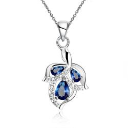 Vienna Jewelry Trio Mock Sapphire Dangling Orchid Drop Necklace - Thumbnail 0
